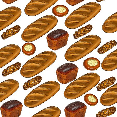 Seamless pattern with cartoon food: long loaf, brown bread, bun.