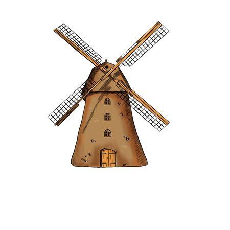 Illustration of a mill on a white background Zdjęcie Seryjne - 132530244