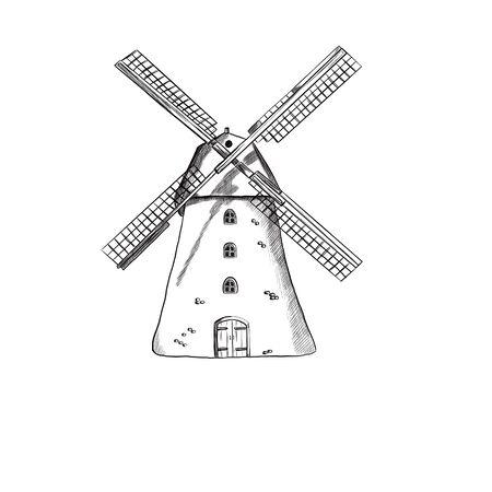 Illustration of a mill on a white background Zdjęcie Seryjne - 132530286