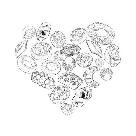 Bakery heart symbol sketched wheat bread and rye bread, bagel, croissant, pretzel, sweet bun, cinnamon roll, buns, dessert pie. Bakery shop, pastry, pastry shop or grocery raster poster. Zdjęcie Seryjne - 132530307