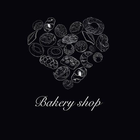Bakery heart symbol sketched wheat bread and rye bread, bagel, croissant, pretzel, sweet bun, cinnamon roll, buns, dessert pie. Bakery shop, pastry, pastry shop or grocery raster poster. Zdjęcie Seryjne - 132530308