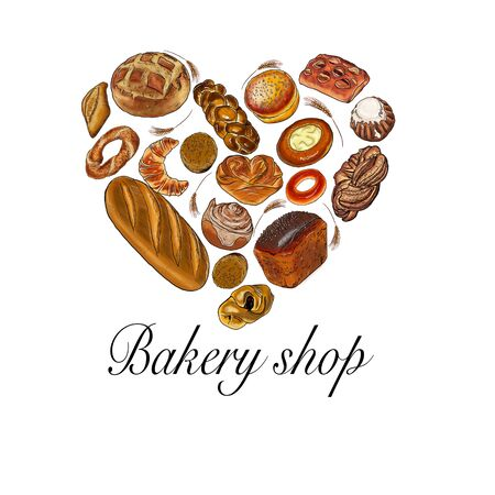 Bakery heart symbol sketched wheat bread and rye bread, bagel, croissant, pretzel, sweet bun, cinnamon roll, buns, dessert pie. Bakery shop, pastry, pastry shop or grocery raster poster.