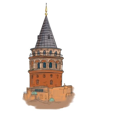 Galata Tower Istanbul Turkey. Isolated black contour on a white background.