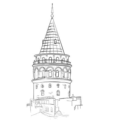 Galata Tower Istanbul Turkey.Isolated black contour on a white background.