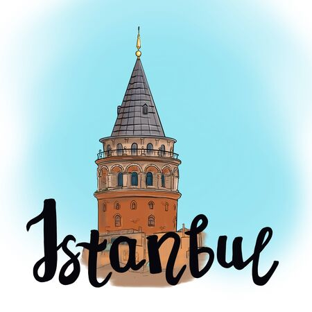 Illustration sketch with the silhouette of the Galata tower and the inscription Istanbul. Suitable for postcards, packaging.
