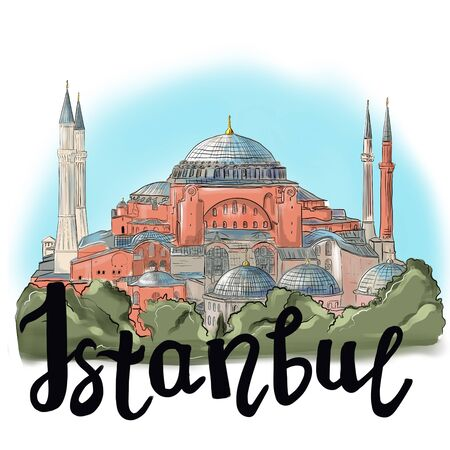 Hagia Sophia and the inscription Istanbul. Hand drawn sketch. Postcard, poster ISTANBUL, TURKEY: