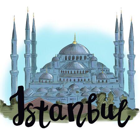 Illustration Sultanahmet mosque and inscription Istanbul Фото со стока