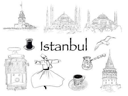 Istanbul Elements Set. Dervish, simit, Turkish coffee, tram, seagull, Sultanhamet mosque. Фото со стока