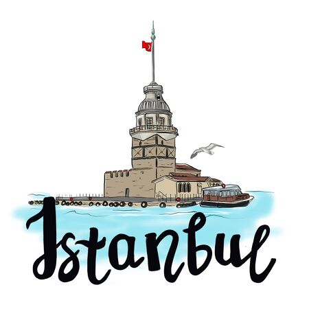 Drawing sketch illustration of the Maiden Tower, a tower on an island in the middle of the Bosphorus and the inscription Istanbul
