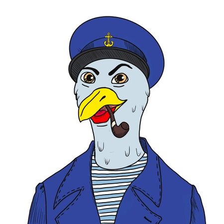 Captain of the ship in uniform on the background of the sea stands in cartoon style on a white background