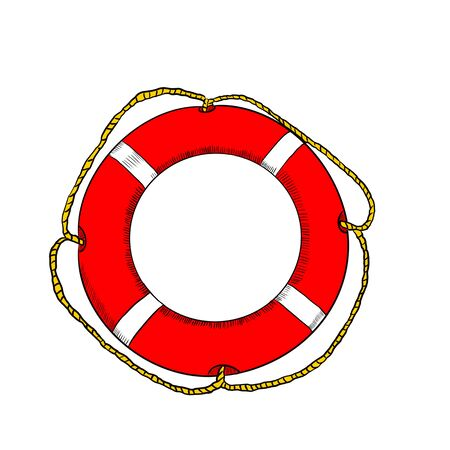 Red lifebuoy on a white background