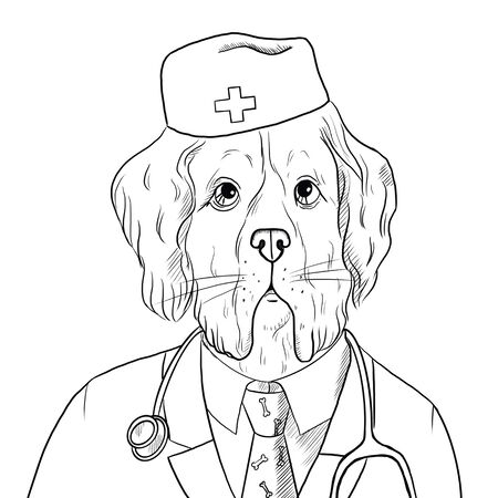 Dog in a suit of a doctor. An animal as a veterinarian with a stethoscope and a lab coat. Cartoon character Dog, like a man in veterinary medicine. Raster illustration with a cute animal. Serbernar.