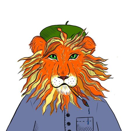 illustration of a lion in the clothes of the artist with a brush in his teeth 스톡 콘텐츠