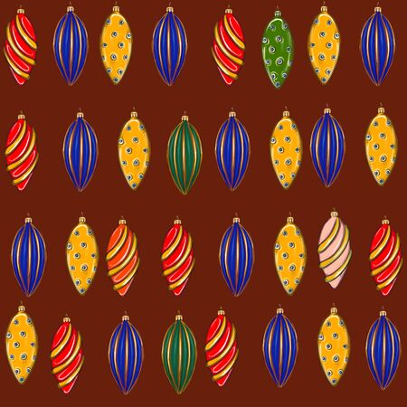 New Year seamless pattern with different toys. Фото со стока