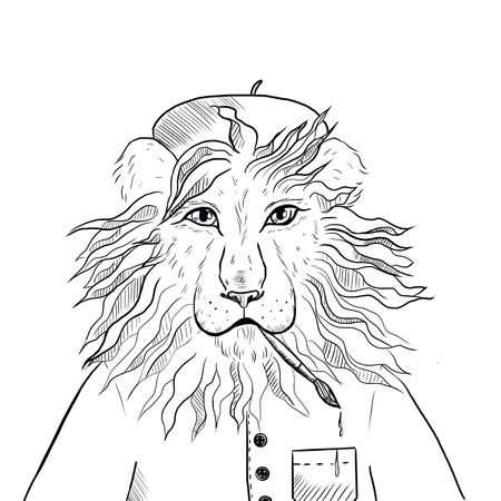 cartoon lion in an artist suit with a brush in his teeth