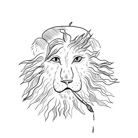 cartoon lion with a brush in his teeth