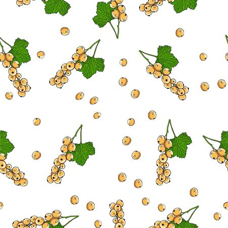 Seamless background of yellow currant berries. Full color floral background