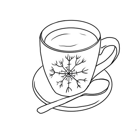 Red mug with snowflakes isolated on white