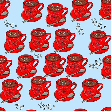 Seamless hand drawn tea pattern with knitted objects and snowflakes. Фото со стока