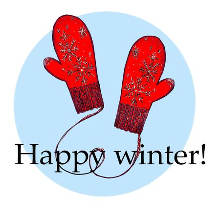 Hello winter. Christmas and New Year Calligraphic. Good for design, cards or posters. Фото со стока