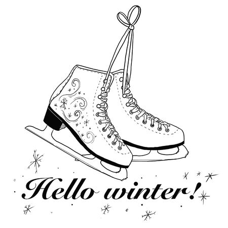 Hello winter. Marking. Calligraphy. Winter logos and badges for invitations, banners, prints. Hello winter black written inscription with skates on a white background