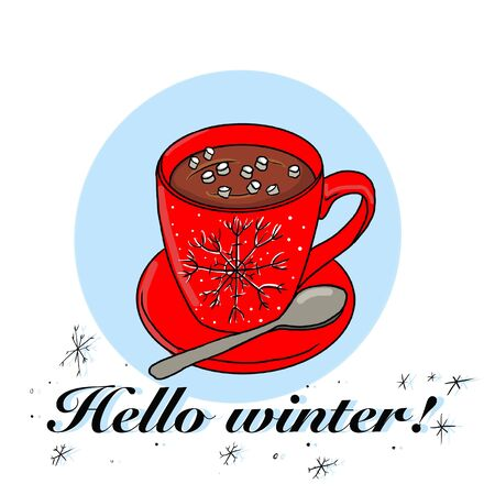 Christmas hot cocoa is served here. Illustration with red mug and snowflake for banner and poster design. Фото со стока