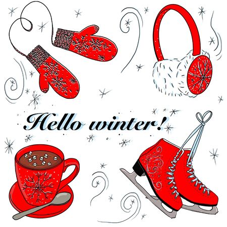 Set of winter premes and the inscription hello winter. skates, headphones, mittens, a cup of cocoa