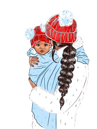 Mom with a baby in a sling in the winter and the inscription Hello winter. Christmas card. Stock fotó