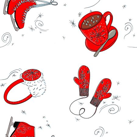 seamless pattern with red mittens and skates on a white background