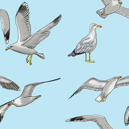 seamless background with white sea-gulls against blue sky