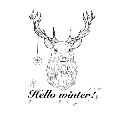 Black and white illustration of a deer with a Christmas toy and the inscription Hello winter!.