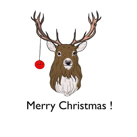 Illustration of a deer with a Christmas toy and the inscription Merry Christmas .