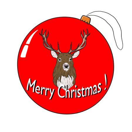Christmas card Red Christmas ball hanging. Illustration.