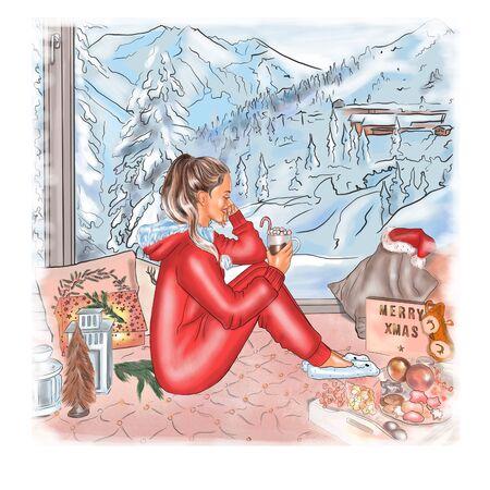 Christmas and New Year 2020. Beautiful girl drinks Christmas hot chocolate near a large window.