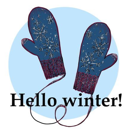 Hello winter. Christmas and New Year Calligraphic. . Seasonal holiday decorations.