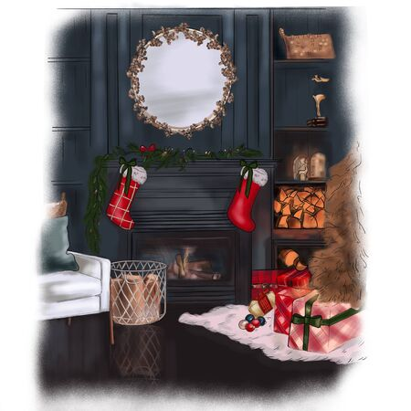 modern fireplace interior with christmas tree and presents in dark