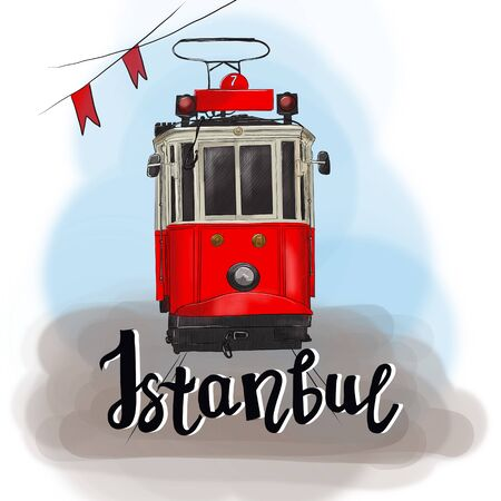 Istanbul, Turkey. Colorful raster illustration of famous turkish travel. Red tram. Banner, postcard. Фото со стока