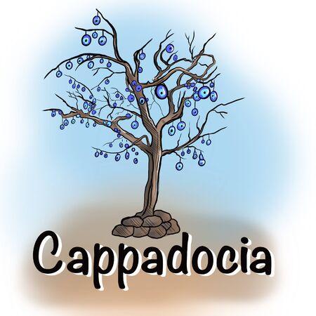 Cappadocia, Turkey. Colorful raster illustration of famous turkish travel. Evil eye, tree, bright balloons. Horizontal banner, postcard.