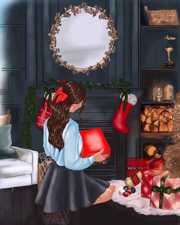 girls with a gift on a Christmas background, Christmas