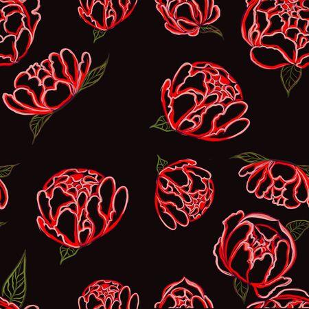 peonies seamless pattern on black background Фото со стока