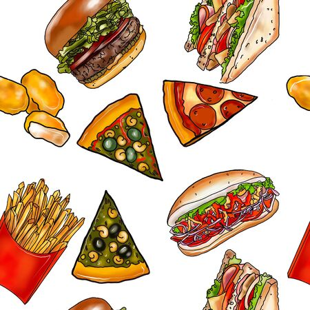 Fast food seamless pattern. French fries, hot dog, pizza, nuggets