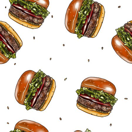 Seamless background with cartoon style hamburgers Фото со стока - 134401868