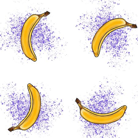 RGB seamless banana pattern. Background is on a separate layer, so you can easily change its color Фото со стока - 134401869