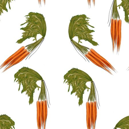 seamless pattern with carrots on a white background