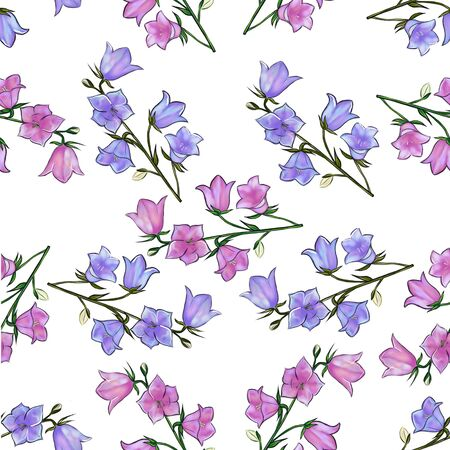 Bluebell flower illustration. Watercolor seamless pattern Фото со стока