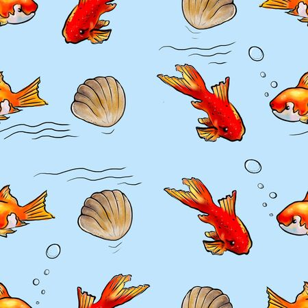 seamless pattern with fish and shells on a blue background