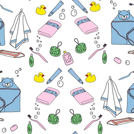 Seamless background with collection of bathroom accessories, hand drawn icons. Design background. Colorful illustration with hygiene products. Decorative wallpaper, good for printing