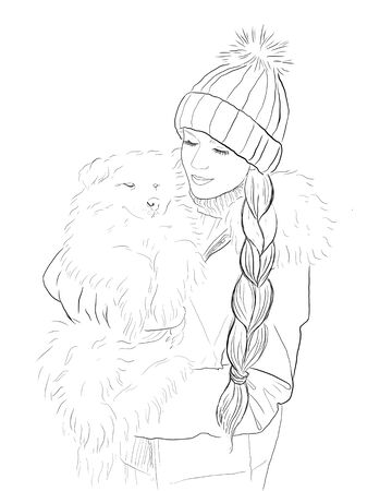 illustration of a beautiful girl with a funny dog hugging, meeting christmas, coloring Фото со стока - 134401873