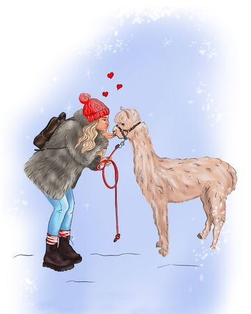 illustration of a girl in winter clothes kisses a llama
