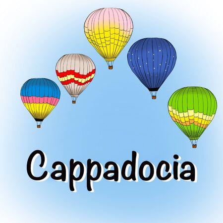 Cappadocia, Turkey. Colorful raster illustration of famous turkish travel. Bright balloons. Horizontal banner, postcard, poster design.